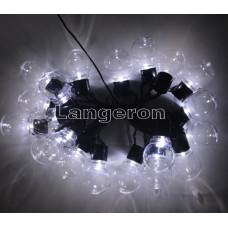 Гирлянда led лампочки 20шт от солнечной энергии белое свечение прозрачные лампочки 5м для беседки