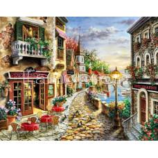 """Картина для выкладывания камнями.""""Улица с рестораном"""" 34*24 см Камни круглые полное заполнение."""