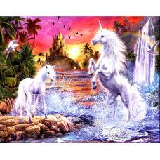 Картина для выкладывания камнями Единороги белые замок 30*40