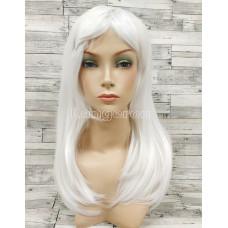 Парик белый ровный 50см средней длины с косой челкой искусственный  аниме косплей cosplay