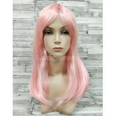 Парик розовый прямой 50см с косой челкой