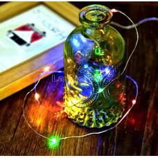 Лента светящаяся 3метра 30 лампочек разноцветные