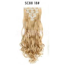 Трессы волнистые набор блонд пшеничный теплый 16клипс 55см №18