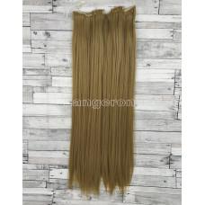 Волосы на заколках набор русые №16 ровные трессы из 6 тресс 16 клипс