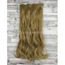 Волосы на заколках набор русые №24 волнистые трессы из 6 тресс 16 клипс