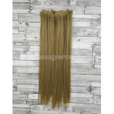 Волосы на заколках набор блонд темный №24 ровные трессы из 6 тресс 16 клипс