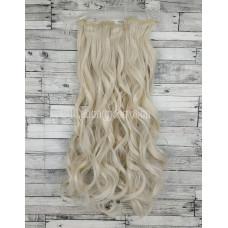 Волосы на заколках набор блонд №60 волнистые трессы из 6 тресс 16 клипс