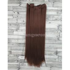 Волосы на заколках набор бургунди №33 ровные трессы из 6 тресс 16 клипс