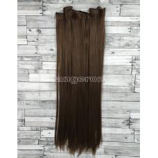 Волосы на заколках набор коричневые №33А ровные трессы из 6 тресс 16 клипс