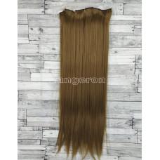 Волосы на заколках набор русые №6 ровные трессы из 6 тресс 16 клипс