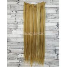 Волосы на заколках набор блонд мелирование 27H613 ровные трессы из 6 тресс 16 клипс
