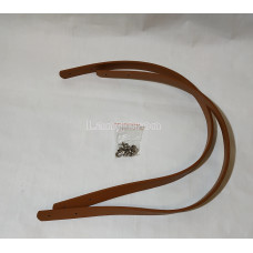Ручки для сумки 60 см*1.8 см светло коричневая PU с двумя дырочками и заклепками.