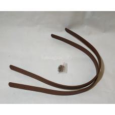 Ручки для сумки 60см*1.8см коричневая PU с двумя дырочками и заклепками.
