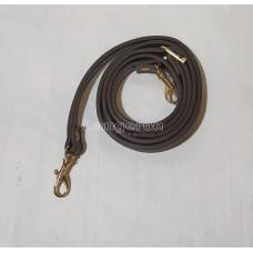 Ручка для сумки 120см*1.2см PU коричневая  с металлическим  карабином цвет золота