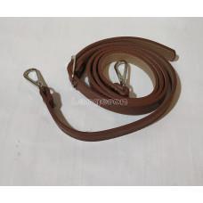 Ручка для сумки 120см*1.8см PU темно коричневая  с металическим  карабином цвет серебро