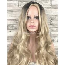 Парик блонд волнистый 70см с пробором без челки с затемненными корнями