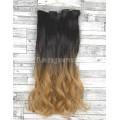 Волосы на заколках набор коричневый омбре в золотистый русый №4T27 волнистые трессы из 6 тресс 16 клипсг