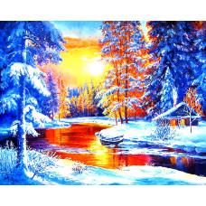 Картина для выкладывания круглыми камнями Зимний закат 35*25 см