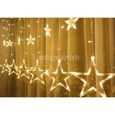 Гирлянда led штора звезды для окна стены 220v желтое свечение 2,5м