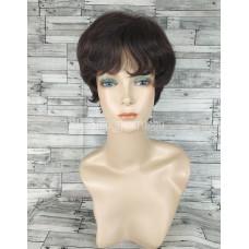 Парик из натуральных волос модель М10 темно-коричнывый  натуральные волосы