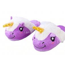 Тапочки ЕДИНОРОГ теплые мягкие обьемные тапочки 3d единорожки фиолетовые