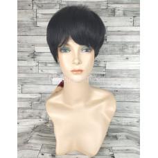 Парик из натуральных волос черный короткий модель 03
