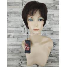 Парик из натуральных волос темно-коричневый  короткий модель 04