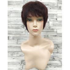 Парик из натуральных волос коричневый короткий модель 05
