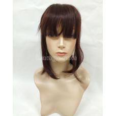 Накладка из натуральных волос коричневый  косая челка 35см