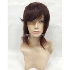 Накладка из натуральных волос коричневый  косая челка 35см с эмитацией кожи