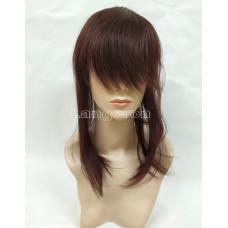 Накладка из натуральных волос коричневый  косая челка 45см с имитацией кожи