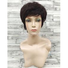 Парик из натуральных волос коричневый короткий модель 7629