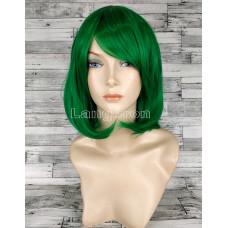 Парик зеленый прямой каре с косой челкой