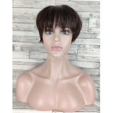 Накладка из натуральных волос постиж для редких волос, придания обьема, моделирования причесок темно-коричневая 20см