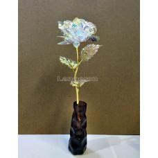 Роза голографическая led в подарочной упаковке Galaxy