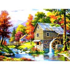 Картина для выкладывания круглыми камнями Дом у реки 34*24 см