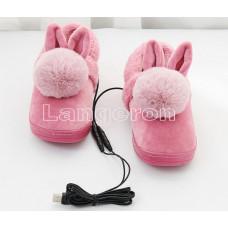 Тапки с подогревом USB розовые с меховым бубоном и ушками резиновая подошва 37-39