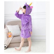 Халат Единорог фиолетовый на рост 140