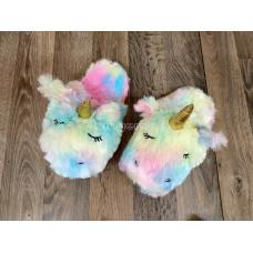 Тапочки ЕДИНОРОГ Радуга радужные разноцветные без задника