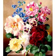 Картина для выкладывания круглыми камнями  Незабудки с розами  25*35