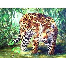 Картина для выкладывания камнями Леопард на охоте