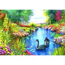Картина для выкладывания камнями Два лебедя на пруду