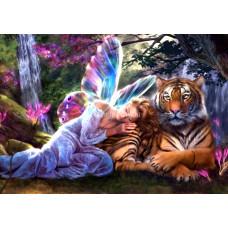 Картина для выкладывания камнями Девушка с тигром