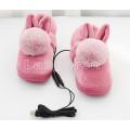 Тапки с подогревом USB розовые с меховым бубоном и ушками 24см 35-37 размер