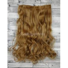 Волосы на заколках на одной ленте русый золотистый волнистые №27 трессы