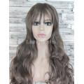 Парик серо-русый длинный волнистый с челкой женский для женщин 70см из искусственных волос
