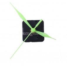 Часовой механизм маленький 9,5 см минутная стрелка, светящиеся в темноте стрелки  ( стрелка вся зеленая )