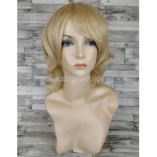 Парик блонд волнистый 40см с прямой челкой подкрученный