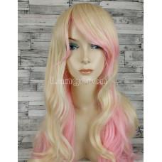 Парик блонд волнистый 70см двухцветный блонд с розовым с косой челкой