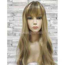 Парик блонд ровный 60см с челкой и пробором блонд с затемненными корнями с599